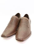 Elegant pair of brown shoes royalty free stock image