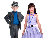 Elegant pair - little girl and boy Royalty Free Stock Photo