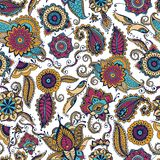 Elegant paisley seamless pattern with colorful Indian buta motif and floral mehndi elements on white background. Motley. Vector illustration for textile print royalty free illustration
