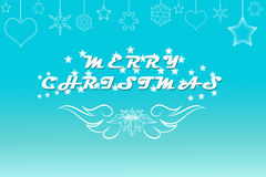 Elegant pale blue Merry Christmas background with. Beautiful blue background with Merry Christmas text, wings, sparkling stars, hearts and snowflakes stock illustration