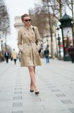 Elegant Parisian woman on the street Royalty Free Stock Photo