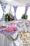Elegant party food display. Fancy display of a variety of food for a large party or special event Stock Image