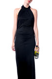 Elegant party woman with a bottle of wine Royalty Free Stock Photography