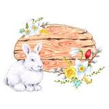 Elegant Pasen-de kaartontwerp van de daggroet met bloesemsbloemen en konijnen royalty-vrije stock afbeeldingen