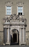Elegant passage with coat-of-arms and windows in the Domquartier, Salzburg, Austria Royalty Free Stock Photography