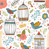 Elegant pattern with flowers, bird cages and birds. Vector illustration Royalty Free Stock Photo