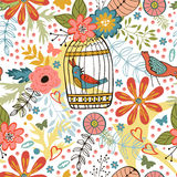 Elegant pattern with flowers, bird cages and birds Royalty Free Stock Image