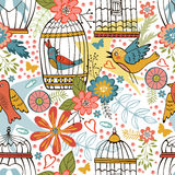 Elegant pattern with flowers, bird cages and birds Stock Images