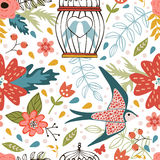 Elegant pattern with flowers, bird cages and birds. Vector illustration Stock Photography