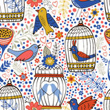 Elegant pattern with flowers, bird cages and birds. Vector illustration Royalty Free Stock Image