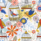 Elegant pattern with flowers, bird cages and birds. Vector illustration Stock Images