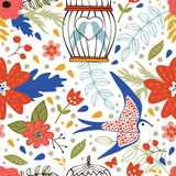 Elegant pattern with flowers, bird cages and birds Stock Photos