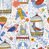 Elegant pattern with flowers, bird cages and birds Stock Photo