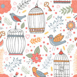 Elegant pattern with flowers, bird cages and birds. Vector illustration Stock Image