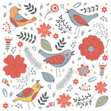 Elegant pattern with flowers and birds Royalty Free Stock Image