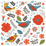 Elegant pattern with flowers and birds Stock Images