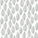 Elegant pattern with leafs drawn in thin lines Royalty Free Stock Image