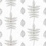 Elegant pattern with leafs drawn in thin lines Stock Images