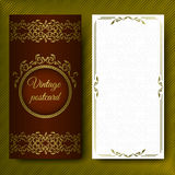 Elegant pattern, luxurious card with lace ornaments and place for text. Floral elements on a dark red background on Stock Photo