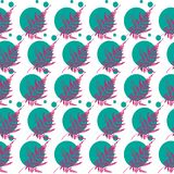 Gentle pattern fern. Elegant pattern of pink leaves of the fern and aquamarine spheres. Perfect for fabric, paper or as a background Stock Photo