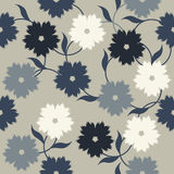 Elegant pattern with stylish flowers and leaves. Seamless template can be used for design fabric, cover, linens and more designs Stock Photos