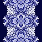 Elegant pattern with vintage ornament. Vector elegant ethnic pattern with vintage blue ornament on dark background Stock Image