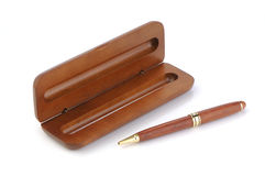 Elegant pen with an opened wooden case Stock Images