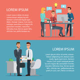 Elegant People Businessman at computer. Cartoon poster vector Stock Images