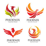 Elegant Phoenix logo vector set Stock Photos