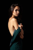 Elegant photo of beautiful woman in green dress Stock Photos
