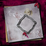 Elegant Photoframe quick page layout. Framed Photobackground with elegant grunge background, hand painting and embellishment  elements for use in design, page Royalty Free Stock Image