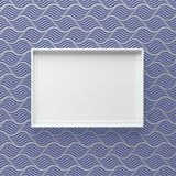Elegant picture frame standing on wall with wave pattern stock image