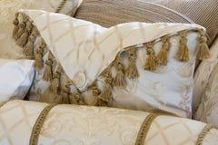 Elegant Pillow. Cream elegant pillow on a bed Royalty Free Stock Photos
