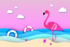 Elegant Pink bird Flamingo and lifebuoy in the sea in paper cut style. Origami layered beautiful seascape and sky. Vector Royalty Free Stock Image