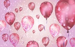 Elegant Pink Flying helium Balloons with Bokeh Effect and glitter. Wedding, Birthday and Anniversary Background. Vector. Illustration for invitation card, party vector illustration