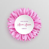 Elegant pink gerbera flower template. Vector greeting card with gerbera or daisy single flower on white. Good for wedding, invitation and other design. EPS10 Stock Photo