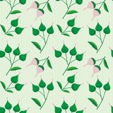 Elegant pink and green hand drawn buds on a subtly striped light green background. Sophisticated vintage seamless vector. Pattern perfect for stationery royalty free illustration