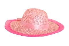 Elegant pink hat isolated on white Royalty Free Stock Photography