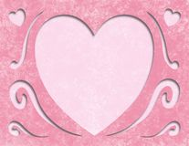 Elegant Pink Mothers day Heart Card Blank Space. Pink Mother's Day heart card, paper cutout with shadow Stock Photo