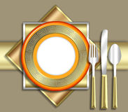 ELEGANT place setting. A strikingly bold illustration of a very upscale place setting for a meal.  This would be ideal for use in an invitiation for a dinner Royalty Free Stock Photo