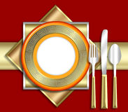 ELEGANT place setting. A strikingly bold illustration of a very upscale place setting for a meal.  This would be ideal for use in an invitiation for a dinner Stock Image