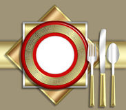 ELEGANT place setting. A strikingly bold illustration of a very upscale place setting for a meal.  This would be ideal for use in an invitiation for a dinner Stock Photos