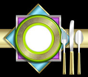ELEGANT place setting. A strikingly bold illustration of a very upscale place setting for a meal.  This would be ideal for use in an invitiation for a dinner Royalty Free Stock Image