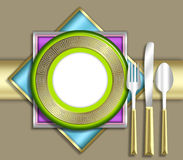 ELEGANT place setting. A strikingly bold illustration of a very upscale place setting for a meal.  This would be ideal for use in an invitiation for a dinner Stock Photo