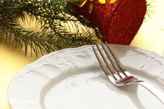 Elegant place setting for Christmas Royalty Free Stock Photo
