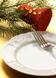Elegant place setting for Christmas Royalty Free Stock Photos
