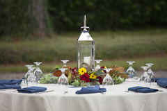 Elegant place setting for outdoor dinner Royalty Free Stock Photo