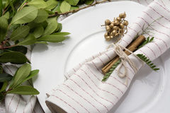 Elegant place setting white and gold, with garland of green leav Stock Photos