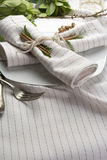 Elegant place setting white and gold Royalty Free Stock Photography
