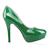 Elegant platform High Heels shoes in green. Fashionable platform High Heels in shiny green patent leather, isolated on white Stock Image